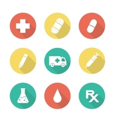 Medical flat design long shadow icons set vector