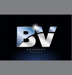 Metal blue alphabet letter bv b v logo company vector