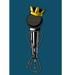Microphone with kings crown vintage music poster vector
