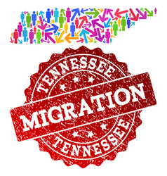 Migration collage of mosaic map of tennessee state vector