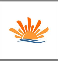 Modern orange sunrise and wave vector