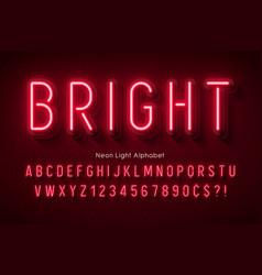 neon light alphabet multicolored extra glowing vector image