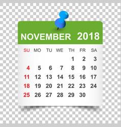 November 2018 calendar calendar sticker design vector