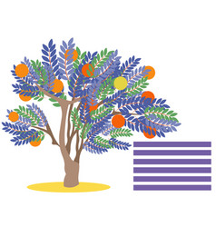 orange tree with fruit blank for banner in vector image