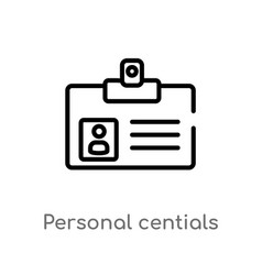 Outline personal centials icon isolated black vector