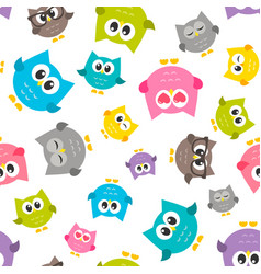 Pattern with colorfull owls vector