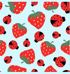 Pattern with strawberry and ladybug vector