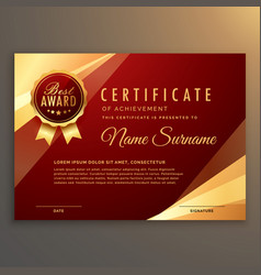 Premium red certificate and diploma template vector