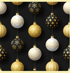 realistic christmas seamless pattern with gold vector image