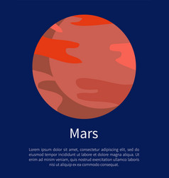 Red mars planet on informative poster with text vector