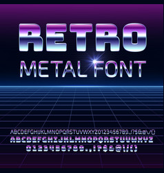 Retro space metal font metallica vector