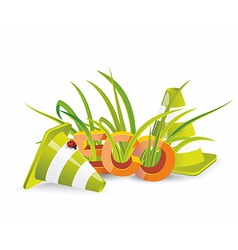 Safety cones with green grass vector image