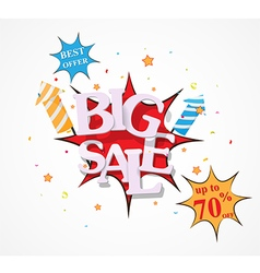 Sale discount design with fireworks vector image