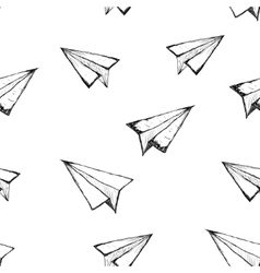Seamless pattern with a paper airplane vector
