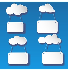 set cutout white clouds with banners vector image