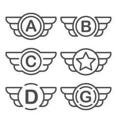 set emblems with wings vector image