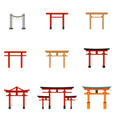 Set flat color torii gate icons vector