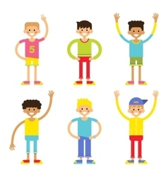 Set of cheerful children boys vector image