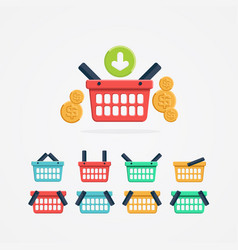 set of colored shopping basket vector image