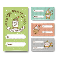 set of greeting cards for christmas vector image