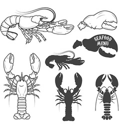 Set of the lobsters in vector image