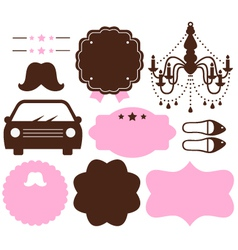Set of vintage design elements isolated on white vector