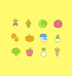 set simple line icons vegetables vector image