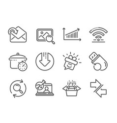 Set technology icons such as online chemistry vector