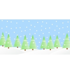 Snowfall in the winter forest vector