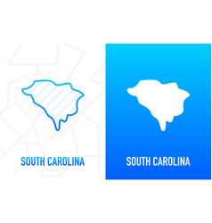 South carolina - us state contour line in white vector