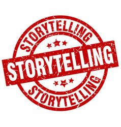 Storytelling round red grunge stamp vector