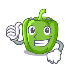 Thumbs up green peppers on the table cartoon vector