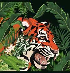 tiger drawing in the jungle vector image