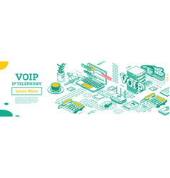 voip ip telephony services isometric outline vector image