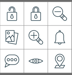 web icons set with open lock eyes scenery image vector image