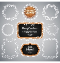 White Christmas Lights on Blackboard vector image