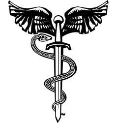 Winged sword and Snake vector