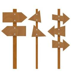 Wooden arrows signs set vector image