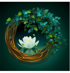 wreath vines and leaves with nymphaea vector image