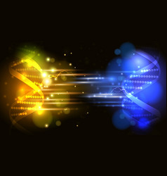 Yellow and blue light DNA fight background vector