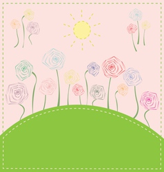 colorful flowers on the meadow under the sun vector image