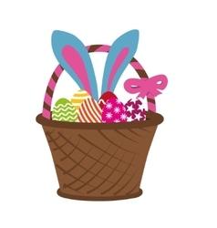 Easter rabbit in basket vector image vector image