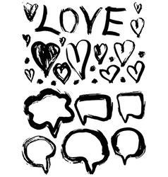 grunge set of speech bubbles and hearts grungy vector image vector image