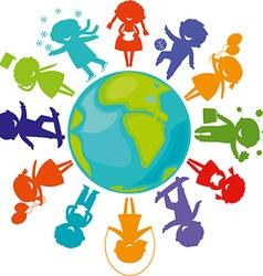 silhouettes children world vector image