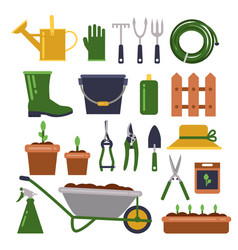 different work tools for gardening icons vector image