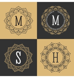 Monogram circle frame vintage luxury style vector image vector image