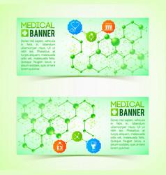 pharmaceutics and pharmacy horizontal banners set vector image