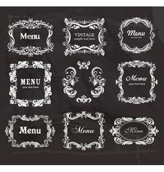 Set of vintage frames on the chalkboard vector image vector image