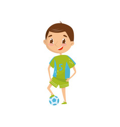 smiling teen boy wants to be professional football vector image