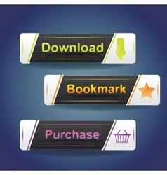 Three buttons with arrow and word download now vector image